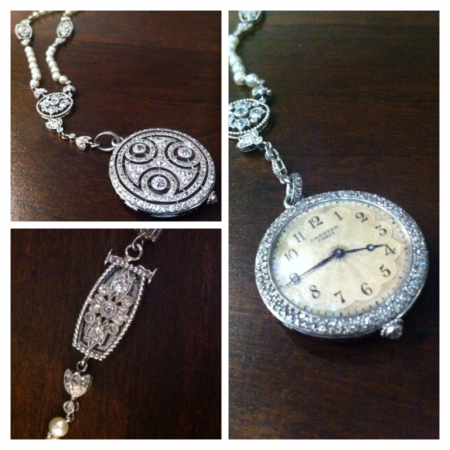 Vintage Platinum, Diamond and Pearl Watch Pendant Necklace - Cartier | Paris
